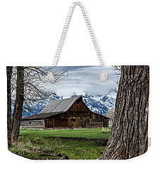 Weekender Tote Bag featuring the photograph Teton Barn #1 by Scott Read