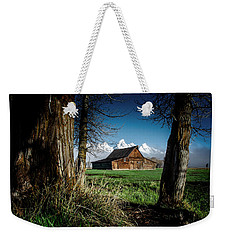 Weekender Tote Bag featuring the photograph Tetons And Moulton Barn by Scott Read