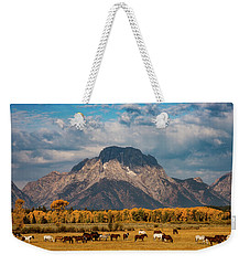 Weekender Tote Bag featuring the photograph Teton Horse Ranch by Darren White