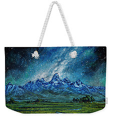 Weekender Tote Bag featuring the painting Teton Milky Way by Aaron Spong