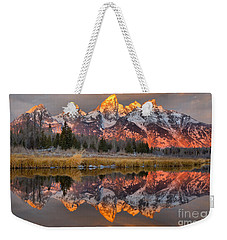 Teton Mountains Sunrise Rainbow Weekender Tote Bag