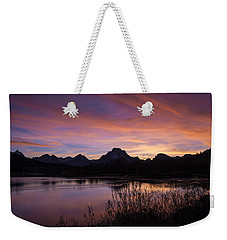 Weekender Tote Bag featuring the photograph Teton Sunset by Gary Lengyel