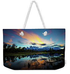 Weekender Tote Bag featuring the photograph Teton Sunset by Norman Hall