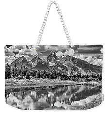 Tetons In Black And White Weekender Tote Bag by Mary Hone