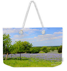 Weekender Tote Bag featuring the photograph Texas Bluebonnet Field by Kathy White