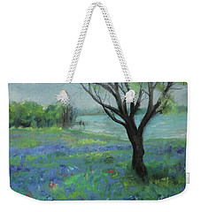 Weekender Tote Bag featuring the painting Texas Bluebonnet Trail by Robin Maria Pedrero