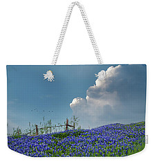 Weekender Tote Bag featuring the photograph Texas Bluebonnets And Spring Showers by David and Carol Kelly