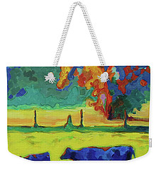 Texas Cow And Calf At Sunset Print Bertram Poole Weekender Tote Bag by Thomas Bertram POOLE