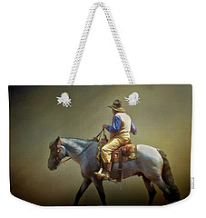 Weekender Tote Bag featuring the photograph Texas Cowboy And His Horse by David and Carol Kelly