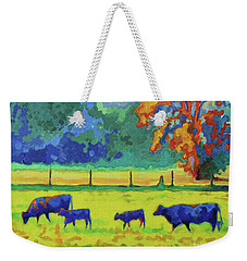 Weekender Tote Bag featuring the painting Texas Cows And Calves At Sunset Painting T Bertram Poole by Thomas Bertram POOLE