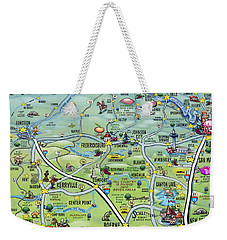 Texas Hill Country Cartoon Map Weekender Tote Bag