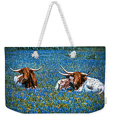 Texas In Blue Weekender Tote Bag by Linda Unger