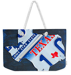 Texas License Plate Map Weekender Tote Bag by Design Turnpike