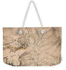 Texas Revolution Santa Anna 1835 Map For The Battle Of San Jacinto  Weekender Tote Bag