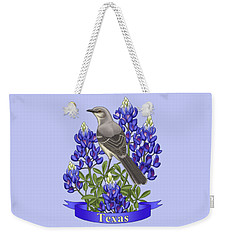 Texas State Mockingbird And Bluebonnet Flower Weekender Tote Bag by Crista Forest