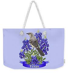 Texas State Mockingbird And Bluebonnet Flower Weekender Tote Bag