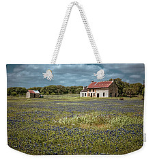 Weekender Tote Bag featuring the photograph Texas Stone House by Linda Unger