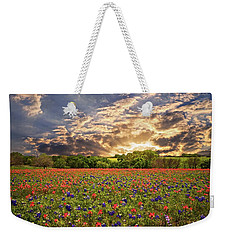 Texas Wildflowers Under Sunset Skies Weekender Tote Bag