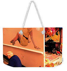 Texting Under A Sexy Lady's Watchful Eye  Weekender Tote Bag by Funkpix Photo Hunter