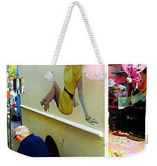 Texting Under Her Watchful Eye  Weekender Tote Bag by Funkpix Photo Hunter