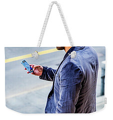 Man Texting Weekender Tote Bag