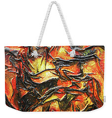 Weekender Tote Bag featuring the mixed media Texture Of Fire by Angela Stout