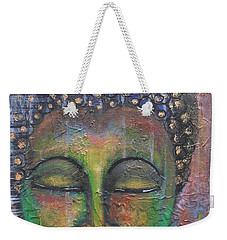 Weekender Tote Bag featuring the painting Textured Green Buddha by Prerna Poojara