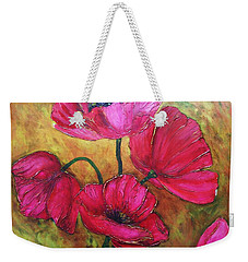 Weekender Tote Bag featuring the painting Textured Poppies by Chris Hobel