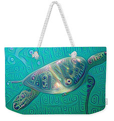 Weekender Tote Bag featuring the painting Thaddeus The Turtle by Erika Swartzkopf