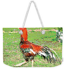 Weekender Tote Bag featuring the mixed media Thai Fighting Rooster by Charles Shoup