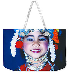Weekender Tote Bag featuring the photograph Thai Girl Traditionally Dressed by Heiko Koehrer-Wagner
