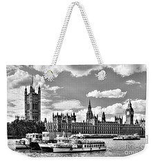 Weekender Tote Bag featuring the photograph Thames River In London Bw by Mel Steinhauer