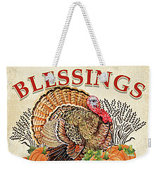 Weekender Tote Bag featuring the painting Thanksgiving-e by Jean Plout
