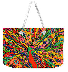 Weekender Tote Bag featuring the painting That Bloomin Peacock by Alison Caltrider