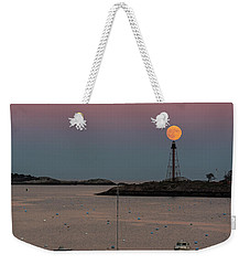 The 2016 Supermoon Balancing On The Marblehead Light Tower In Marblehead Ma Weekender Tote Bag