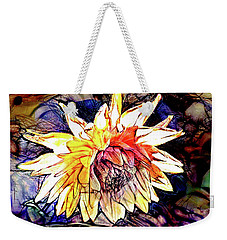 Weekender Tote Bag featuring the digital art The Abstracted Dahlia  by Steve Taylor