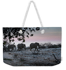 Weekender Tote Bag featuring the digital art The African Elephants by Ernie Echols