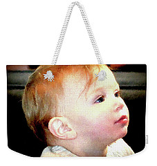 Weekender Tote Bag featuring the photograph The Age Of Innocence by Barbara Dudley