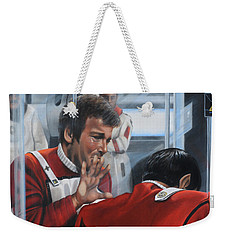 Weekender Tote Bag featuring the painting The Agony Of Loss by Kim Lockman