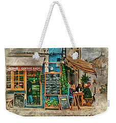 The Albar Coffee Shop In Alvor. Weekender Tote Bag by Brian Tarr