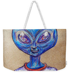 Weekender Tote Bag featuring the drawing The Alien Is L-i-v-i-n by Similar Alien