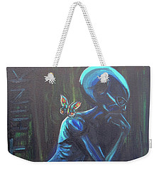 Weekender Tote Bag featuring the painting The Alien Thinker by Similar Alien