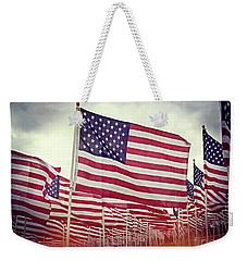 The American Flag Proudly Stands Weekender Tote Bag
