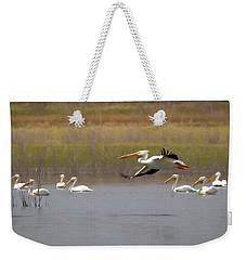 The American White Pelicans Weekender Tote Bag by Ernie Echols