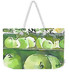 Weekender Tote Bag featuring the painting The Apple Closet by Mindy Newman