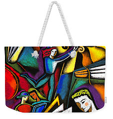 Weekender Tote Bag featuring the painting The Art Of Learning by Leon Zernitsky