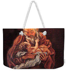 Weekender Tote Bag featuring the painting The Baby Jesus - A Study by Donna Tucker