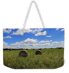 Weekender Tote Bag featuring the photograph The Bales Of Summer by Rick Morgan