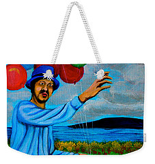 Weekender Tote Bag featuring the painting The Balloon Vendor by Cyril Maza