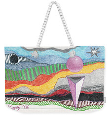 Weekender Tote Bag featuring the drawing The Bannishment Of Evil by Rod Ismay